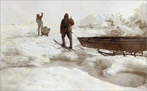 Stampa su tela 50 x 30 cm: An expedition to the North Pole di Fridtjof Nansen / National Geographic - poster pronti, foto su telaio, foto su vera tela, stampa su tela