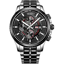 BUREI® Men's Luminous Chronograph Day and Date Watch with Two-tone Bracelet,Black Bezel Black Dial