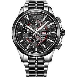 BUREI® Herren-Armbanduhr Chronograph Analog Quarz Edelstahl Schwarz Armbanduhr Wasserdicht Uhr