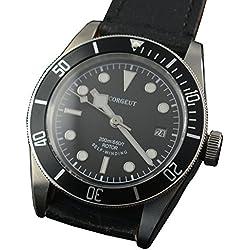 41MM corgeut schwarz Zifferblatt schwarz Lünette Saphirglas Miyota Automatik Herren Armbanduhr