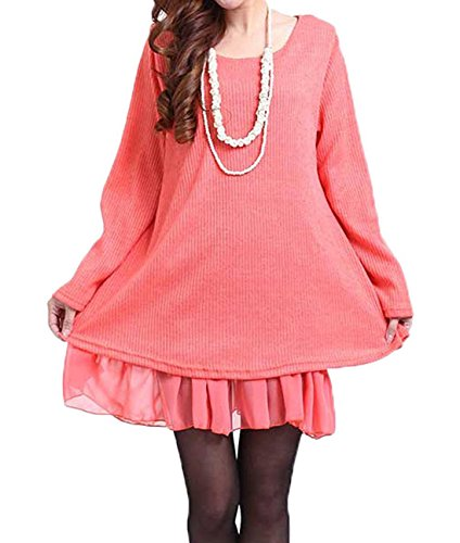 Donna Maglione Invernale Maglia Pizzo Vestito Corto Elegante Casual Moda Maniche Lunghe Autunno Un Abito Arancia