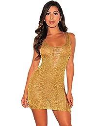 Amazon.it  Mini Abito Oro - L   Donna  Abbigliamento d31b732ae94