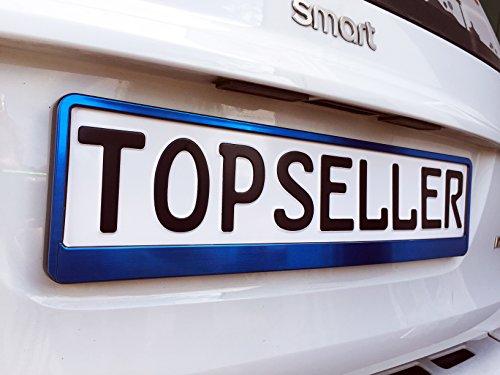 Warenfux24 2 x Kennzeichenhalter Nummernschildhalter Blau T Chrom Metallic Autozubehör Auto
