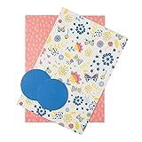 Hallmark, confezione di carta da regalo e bigliettini, motivo: fiori e pois (Pasqua, compleanno), 2 fogli e 2 etichette