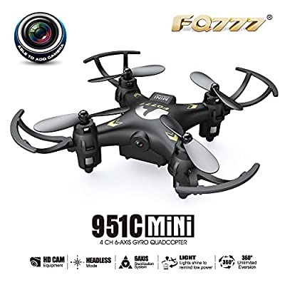RC Quadcopter, Rcool Mini Drone Radio Remote Control Quadcopter FQ777 951C 2.4G 4CH 6-Axis Gyro 0.3MP Camera RTF Quadcopter Airplane
