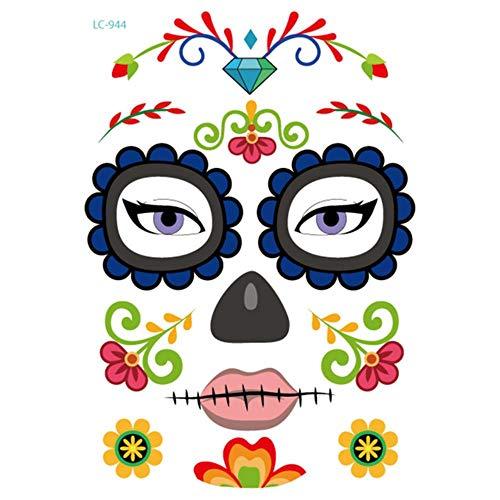 LLAAIT 1 Pcs Halloween Décor Tatouage Autocollants Écologique Imperméable À L'eau Props Temporaire Visage Autocollant Atmosphère Mascarade De Tatouage, 07, Chine