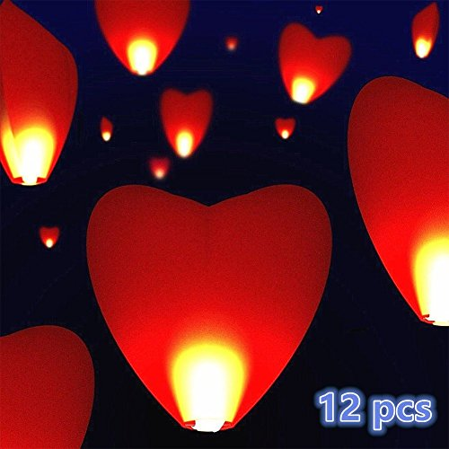 ich Love Herz Sky Laternen für Weihnachten, neues Jahr, chinesisches neues Jahr, Silvester, Hochzeiten und Partys, Valentinstag – Flying Sky Laternen, traditionelles Chinesisch Flying Glowing Laternen 12 x Red Heart (Sky Garden Halloween)
