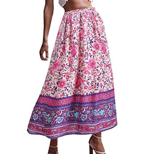 Xmiral Röcke Damen Bohemian Gedruckte Hohe Taille Mittellanger Summer Strand Rock Elegant Festlich Prinzessin Retro Basic Röcke(Violett,XXL)