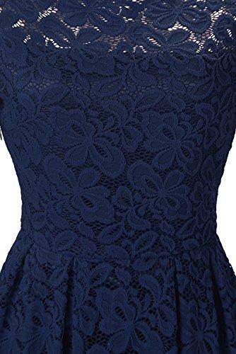 Gigileer Femme 50s Manches Longues Ddentelle Vintage Floral Bateau Cou Swing Cocktail Robe Bleu