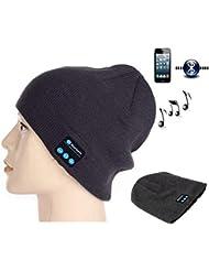 Fifine Gorra de invierno con auriculares incorporados, micrófonos y altavoces inalámbricos, manos libros, compatible con smartphones y tablets