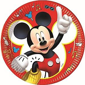 PROCOS 90877 - Platos de cartón para Fiestas (8 Unidades), diseño de Mickey Mouse, Color Rojo, Blanco y Negro