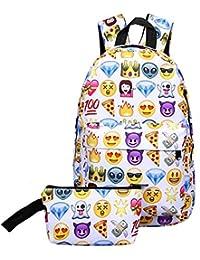 Zibuyu 2pcs New Fashion 3D Nylon Cute Smile Print Backpack Travel School Bag