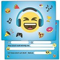 Sophies Kartenwelt 12 Lustige Smiley Einladungskarten zum Kindergeburtstag mit Umschlägen / Emoji Geburtstagseinladungen Einladungen Geburtstag Kinder Jungen Mädchen
