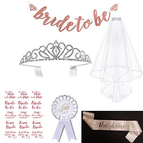 LABOTA JGA deko Accessoires für Braut Dusche Henne Nacht Party Lieferungen   Tiara, Banner, Schärpe, weißer Schleier mit Kamm,15 Tattoos für Braut to be, Braut zu Sein Abzeichen
