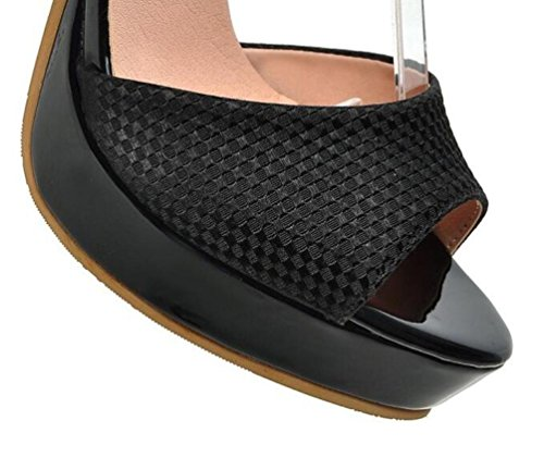 Beauqueen Pumps Plattform Peep-Toe Anke Straps Stiletto Super High Heel Limited Edition Feminine Party Schuhe EU Größe 34-39 Beige