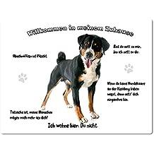 Merchandise for Fans Blechschild/Warnschild/Türschild - Aluminium - 15x20cm - -Willkommen in meinem Zuhause - Motiv: Appenzeller Sennenhund - 17