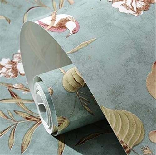 Paese americano retrò fiori e uccelli giardino carta da parati soggiorno camera da letto TV sfondo muro villa decorazione albero di mele carta da parati (Size : Vintage Blue)
