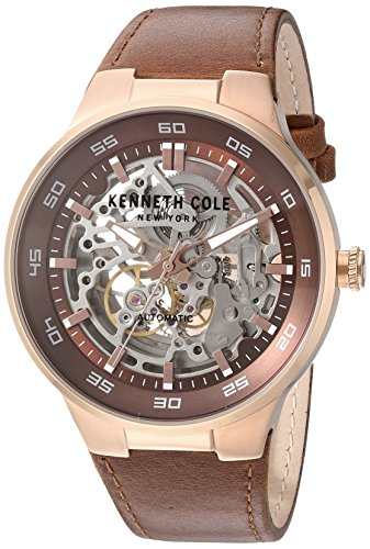 kenneth-cole-new-york-uomo-automatico-in-acciaio-inox-e-pelle-dress-watch-colore-marrone-modello-100