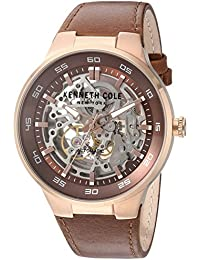 385a68b924e Kenneth Cole New York Mens Analogue Automatic-self-Wind Watch with Leather  Calfskin Strap