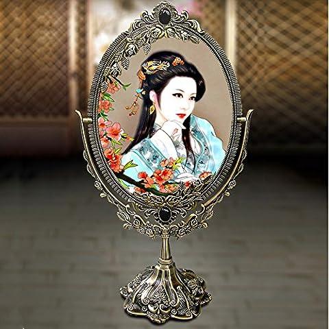Ohcde Dheark Alliage Hot Sale Petit Miroir De Beauté Cosmétiques Princesse Outils De Bureau Double Face Miroir Miroir En Bronze,Compact