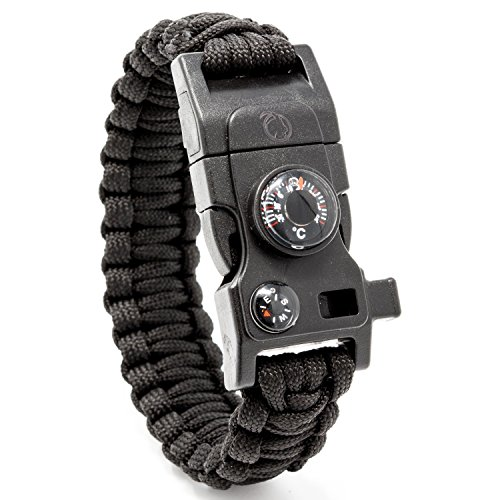 STEINBOCK7 Survival Armband 16-in-1, Paracord, Pfeife, Feuerstein, Messer, Kompass, Thermometer, Multitool, Schwarz