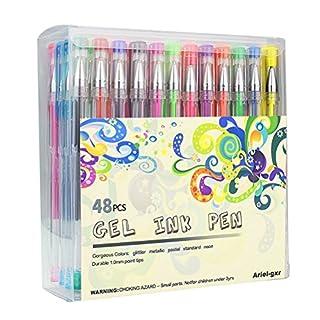 48 Stück Gelschreiber Gelstifte Set, Aril-gxr bunte Stifte inklusive Glitte, Metallisch, Pastell, Noen Gel-Stifte für Künsterbedarf, Erwachsene Malbücher, zeichnen, skizzieren, basteln usw.