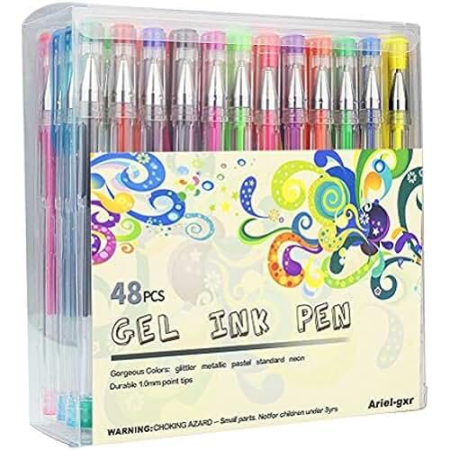 mas dibujos kawaii Gel Pen Set, ariel-gxr paquetes de 48bolígrafos de gel con brillantina, no tóxico, diseño ergonómico de tinta de larga duración: metálico, Glitter, neon, waterchalk