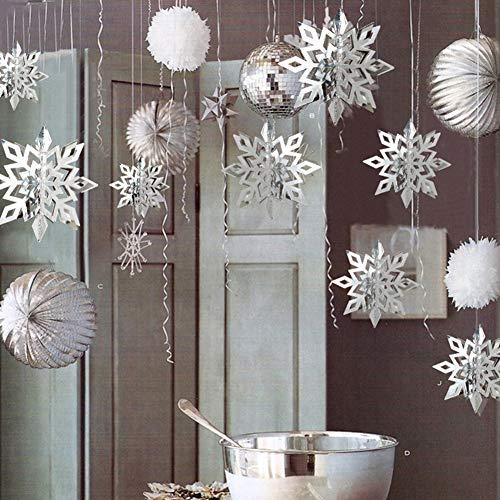 Regali natale,natale decorazioni albero,6pcs / set 3d hollow cardboard snowflake hanging ornaments per la decorazione di natale home party di capodanno argento