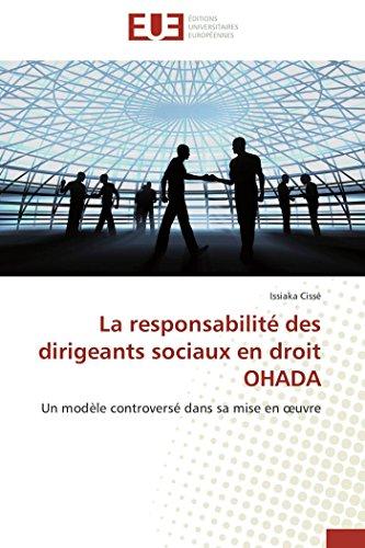 La responsabilité des dirigeants sociaux en droit ohada par Issiaka Cissé