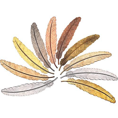 10 Pezzi Segnalibro di Metallo a Piuma Segnalibri Piuma Segnalibri a Forma di Piuma per Adulti e Bambini, Semplice Elegante e Sottile