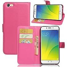 Nadakin OPPO R9s Calidad Premium Cartera de Cuero con Carcasa de Teléfono Flip Funda con Soporte Magnetico de Cierre para OPPO R9s (Rosa caliente)