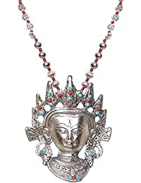 Sansar India Oxidized Silver Plated Buddha Big Pendant Heavy Statement Necklace For Girls And Women