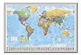 Poster mit Weltkarte Land Flaggen Magnettafel Silber Rahmen, 96,5x 66cm (ca. 96,5x 66cm)