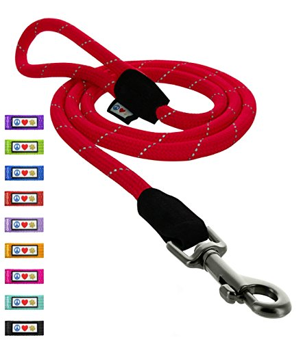 PAWTITAS Rope Dog Lead with Comfortable Handle and Reflective Threads around Rope Lead a 6 ft - 180 cm Heavy Duty Dog lead a great Training Leash for small medium dogs 1