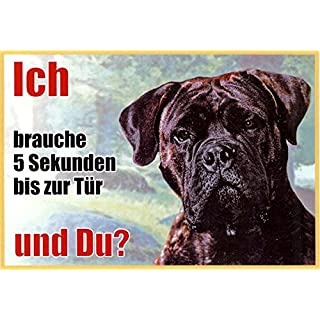 Cane Corso Italiano 024 Approx. 21 x 15 cm Pack of 2 Laminated Waterproof Ich Brauche 5 Sekunden bis zur Tür und du. Can be used indoors and outdoors