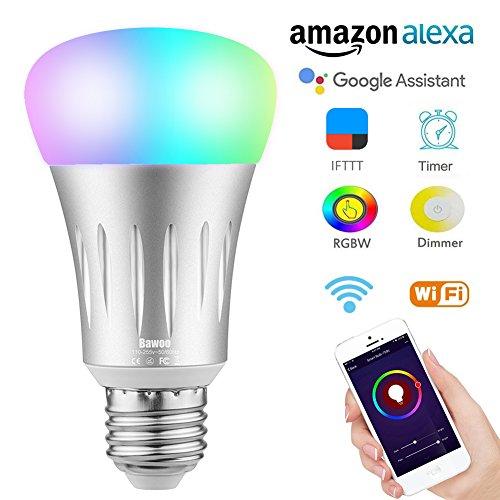 Bombilla Inteligente Wifi LED E27 Bawoo 7 W 925lm RGB Lámparas Color de Intensidad Regulable 16 Millones de Colores Trabajo con Amazon Alexa Google Casa Smartphone Control Remoto a Través de Aplicación No Necesita Hub