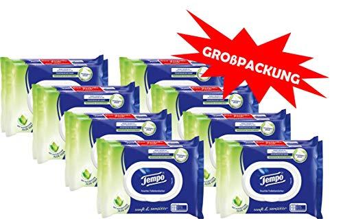 Tempo Sanft und Sensitiv feuchtes Toilettenpapier Riesenpackung (16 Packungen x je 42 Tücher) - Städte Papier