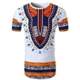 Herren T-shirt,Sonnena Männer Sommer Casual African Print O Neck Pullover Kurzarm T-Shirt Top Bluse Herbst, Sommer/Polyester/bedruckt/Kurzarm (XL, Sexy Weiß)