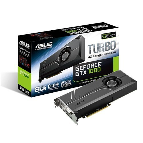 Asus Turbo GeForce GTX1080-8G Gaming Grafikkarte (Nvidia, PCIe 3.0, 8GB DDR5x Speicher, HDMI, DVI, DisplayPort)