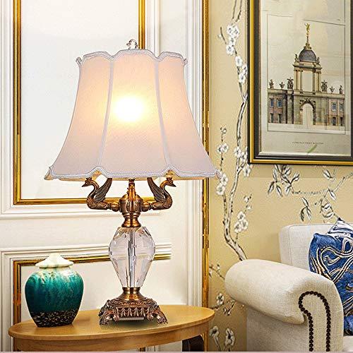 ZXT Vintage K9 Kristall Tischlampe Messing weiß Creme Bell Cover High-End Hotel Schlafzimmer Nachttisch Zink-Legierung Tischlampe-E14 (16,5
