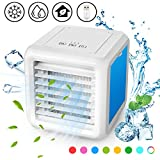 3-in-1 Mini Air Cooler, Air Cooler, Mobile Air Conditioning, Quiet Table Fan, Removable Water Tank for Refrigerator, 8 LED Light Conversion Modes Very Suitable for Office Camping at Home