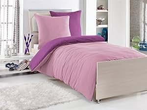 2-Teilige hochwertige Renforcé-Bettwäsche UNI-WENDE in pink/rose GRATIS 1x SCHAL, 1x 135x200 Bettbezug + 1x 80x80 Kissenbezug , 100% Baumwolle