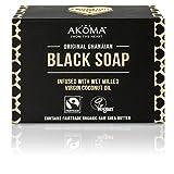 Akoma - Sapone nero grezzo biologico africano con burro di karité e olio di cocco,145g