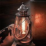 Hireomi ® Retro Tischlampe / 33 cm / schwarz / Tischleuchte Bradford mit Kordelband creme Stahl