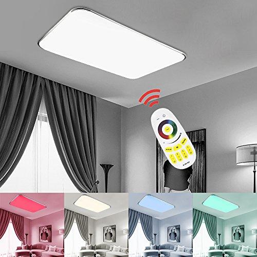 48W RGB LED Deckenleuchte Farben Auswahl Wohnzimmerlampe Ultraslim Bunt LED Deckenstrahler Beleuchtung Sparsame Dauerbeleuchtung[Energieklasse A++] 48 Led-farbe