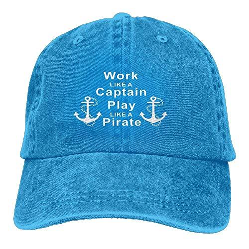 Hoswee Baseballmütze Hüte Kappe Work Like A Captain Play Like A Pirate Unisex Printing Baseball Cap Adjustable Hat Military Caps