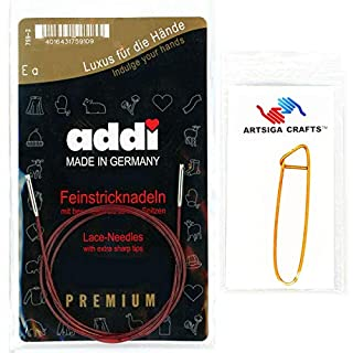 addi Click Interchangeable Red Cord for Short Lace Set 40cm Bundle with 1 Artsiga Crafts Aluminum Stitch Holder