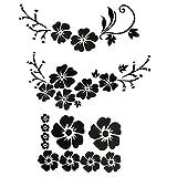 ACBungji - Adesivo per auto Hibiskus, motivo floreale, autoadesivo, per finestrini, impermeabile, colore nero/bianco (nero fiori #1)