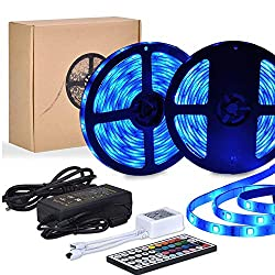 Led Strips Lights, 10M 300 LEDs 5050 RGB Colour Changing Strip lights Waterproof Dimmable Led Stripes with 12V Power Supply 44 Keys IR Remote for Kitchen Cabinet TV Lighting Party Christmas Decoration