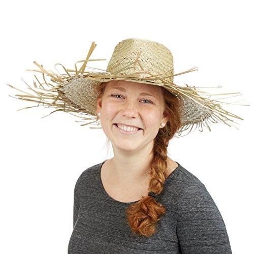 Relaxdays Strohhut geflochten, Strandhut, Einheitsgröße, Hawaii, Sommer, Strand, HBT: 13 x 39 x 39 cm, (Scarecrow Kostüm Damen)